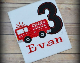 Third birthday shirt, fire truck birthday shirt, fire engine birthday party, boy birthday shirt, birthday tshirt, fireman birthday shirt