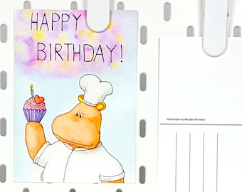 Hippo happy birthday card with cupcake chef -A6 postcard hippo illustration - Cute post card -Cupcake card -Sweet birthday card -Hippo card