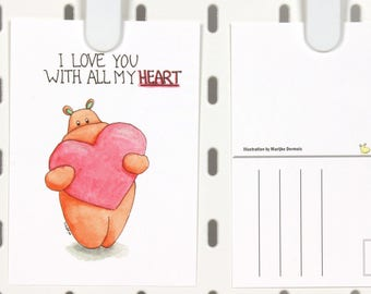 Hippo I love you card A6 postcard - Anniversary card -hippo illustration - cute valentines day card - watercolor post card -Card for her