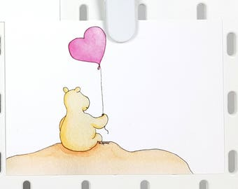 Thinking of you postcard heart hippo illustration A6 -cute greeting card -valentines card -i love you -animal post card for her