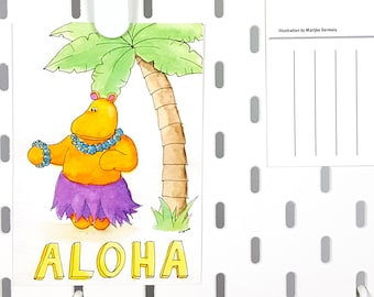 Hello card aloha hippo - Just because A6 postcard hippo illustration -cute greeting card -thinking of you card - hippo art - animal card