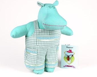 Green soft doll hippopotamus -Plush hippo stuffed animal -Dress up doll -Gender neutral toy -Imaginative play -Gift for kids