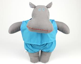 Stuffed hippo -Handmade soft doll hippopotamus -Dress up doll boy sleepwear -Gift for kids -I want a hippopotamus for Christmas -Fabric doll