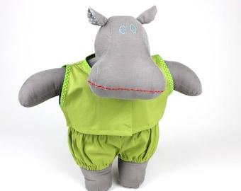 Handmade soft doll hippopotamus -Dress up doll sleepwear -Gift for kids -Plush hippo -I want a hippopotamus for Christmas -Fabric doll