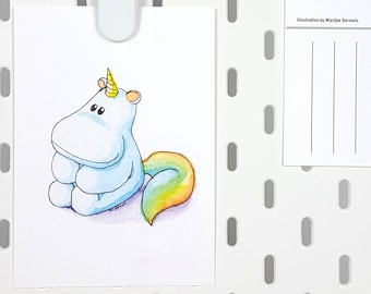 A6 postcard unicorn hippo illustration -cute greeting card -thank you thinking of you card -birthday watercolor animal illustration card