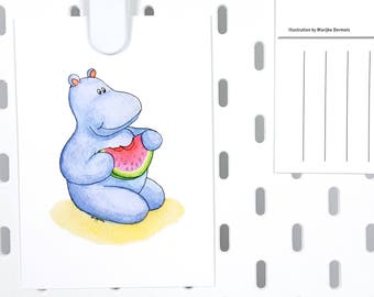 Summer A6 postcard watermelon hippo illustration - any occasion cute greeting card -thank you fruit card -animal card illustration