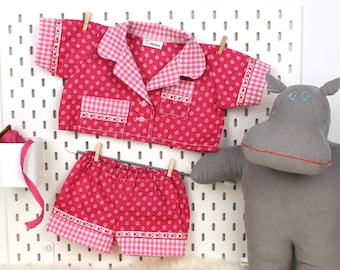 Unique pajamas for hippo doll -Handmade doll outfit sleep set -Cute PJs hippo soft doll to dress -Pink pajamas collectible doll sleepwear