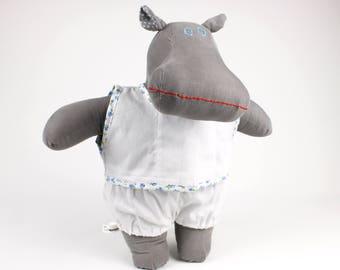 Baby boy doll - Stuffed hippo soft doll -Dress up my first doll boy sleepwear -Gift for toddlers -Plush hippo -Fabric doll toy