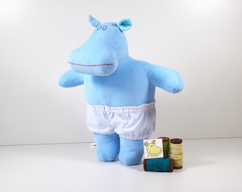 Blue stuffed hippo - Soft doll with white underpants - Dress up fabric doll or hippopotamus toy which is a great blue toy for girls and boys