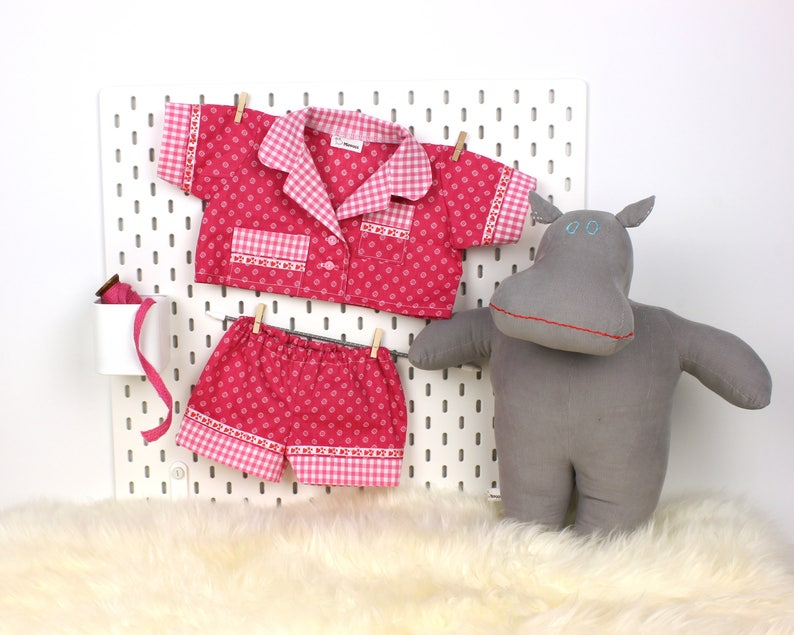 12d374dd2832 Unique pajamas for hippo doll Handmade doll outfit sleep set