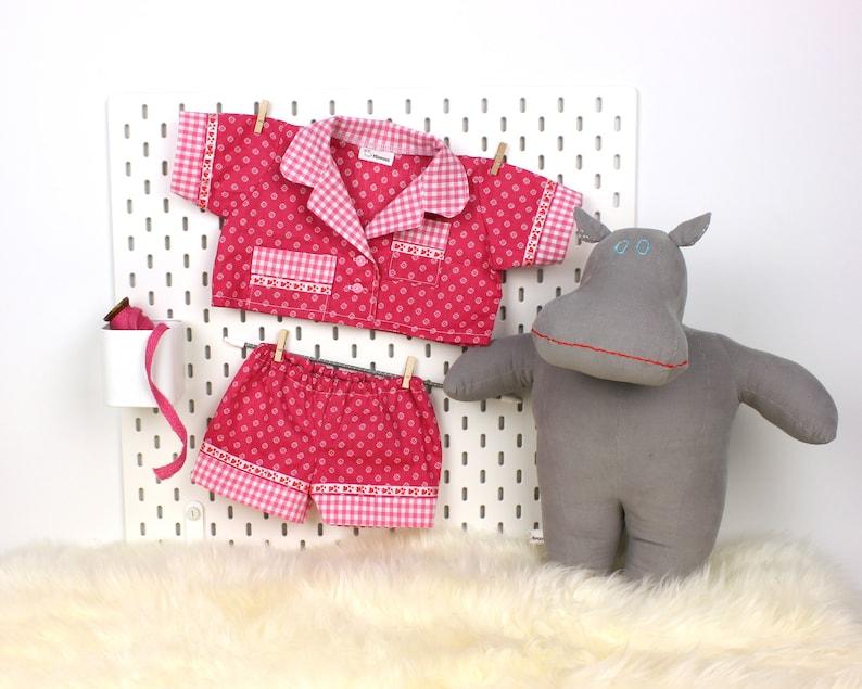 af66e5515fb9 Unique pajamas for hippo doll Handmade doll outfit sleep set