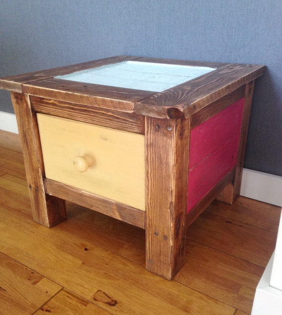 Low Rustic Coffee Table: Low Rustic Coffee Side Bedside Table With Drawer