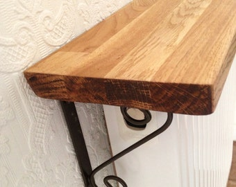 16cm Solid Oak Wooden Radiator Shelf with Antique Metal Brackets