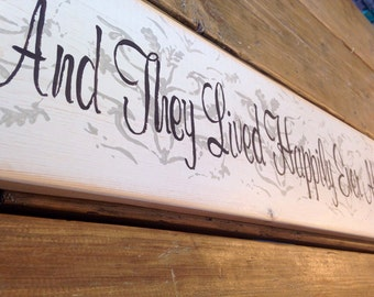 They Lived Happily Ever After Vintage Distressed Large Wood Sign Wedding Gift