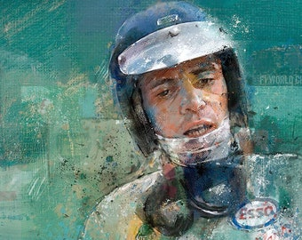 The Quiet Champion, Portrait of Jim Clark: Limited edition print.