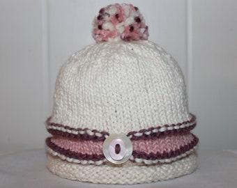Baby Size (9 - 12 Months) Organic Cotton Hand Knit Ivory Pink and Purple Hat With Pom Pom