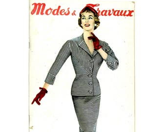 Modes & Travaux, Vintage fall  French fashion magazine with a coat pattern,1955 spring fashion news