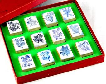 Boc de timbres en caoutchouc vintage à fleurs, lot de 12 timbres éducatifs