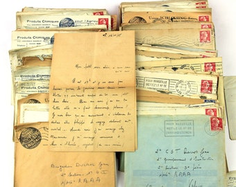 Vintage bundles of  8 French love letters in envelopes (1950s), sweet letters, handwriting, scrap booking, mixed media