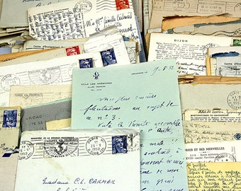 Bundles of  8 French letters in envelopes (1950s), family correspondence, scrap booking, mixed media