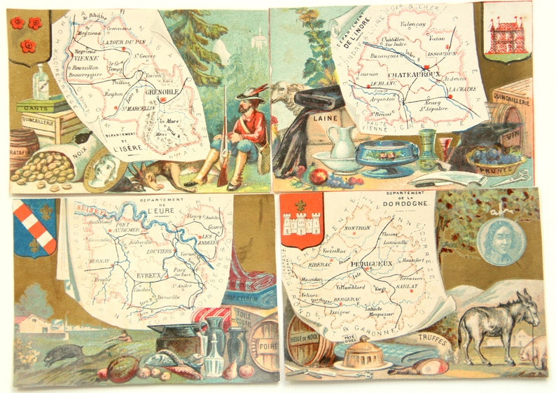 Antique set of 10 Victorian children prints, illustrated French regions  maps, chromos