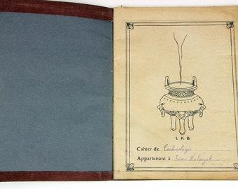 Vintage illustrated French schoolgirl notebook (1930s), fabrics concepts and  samples.