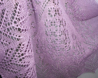 PDF knitting pattern ''Lavender Fields'' (knitted lace shawl with beads) Instant Digital Download