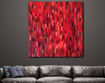 Art, Wall Art, Painting, Original Oil Painting. Contemporary Home decor, Abstract, Modern, Geometric Textured Canvas Title: SEEING RED