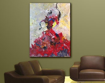 Wall Art, Original  Palette knife Abstract Expressionism Figure Home Decor Painting,Yellow,Red,  Acrylic Painting on Canvas  Title: Dancer