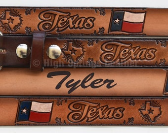 High Springs Leather Childrens Name Belt Farming Personalized