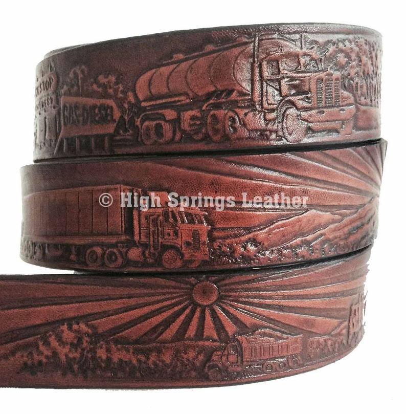 Name Belt Trucker embossed brown leather belt Custom Engraved for Men and Women