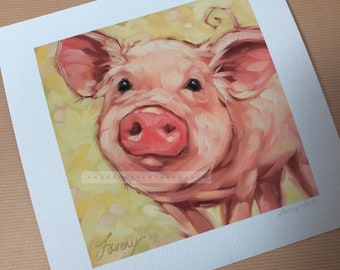 "6x6""  Giclee Print of a sweet piggy painting by Andrea Lavery, pig art, pig art print"