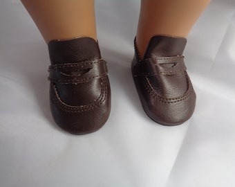 3652ce2a407 Brown Leather Doll Penny Oxfords- Shoes-Tallinas Doll Shoes for 18 inch  Dolls-Shown on my American Girl doll