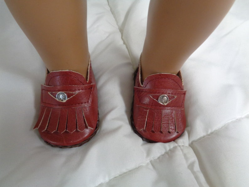 1276ecf583195 Burgundy Doll Fringe Loafers-Fits American Girl Boy Dolls- Vintage Doll  Shoes for 18 inch Dolls-Shown on my American Girl doll