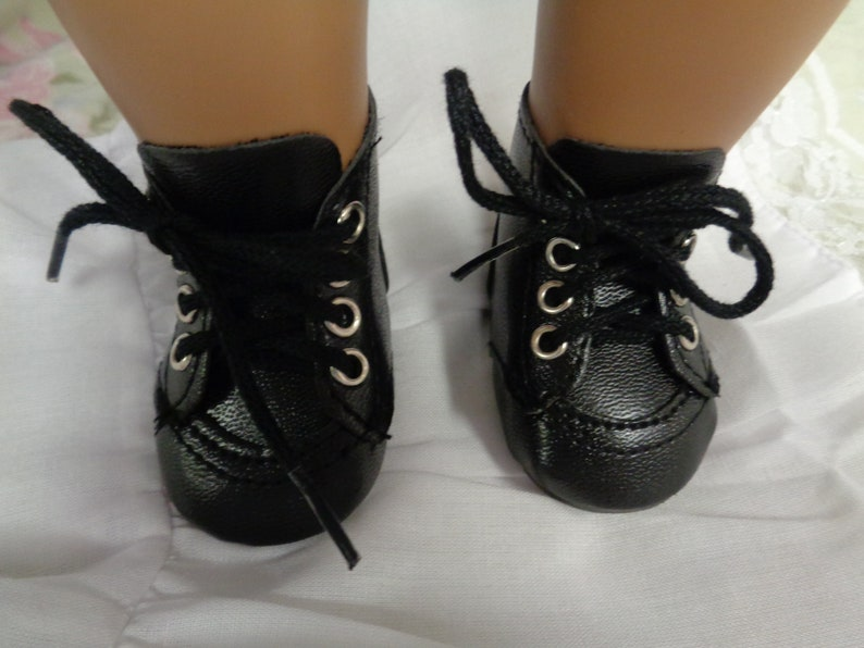 da8b8c5af02d3 Black Leather Doll Ankle Boots-Tallinas Doll Shoes for 18 inch Dolls-Shown  on my American Girl doll