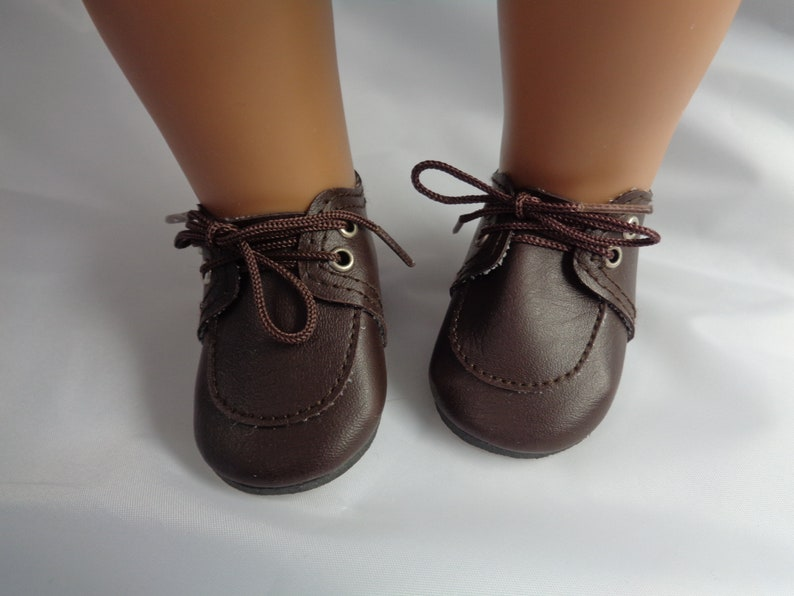 a85bf4376c2e7 Brown Leather Doll Oxfords Shoes-Tallinas Doll Shoes for 18 inch  Dolls-Shown on my American Girl doll
