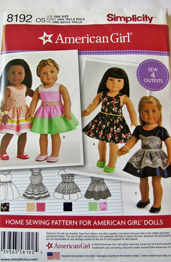 Simplicity 8192 Sewing pattern for 18 Inch Doll Clothes Fits | Etsy