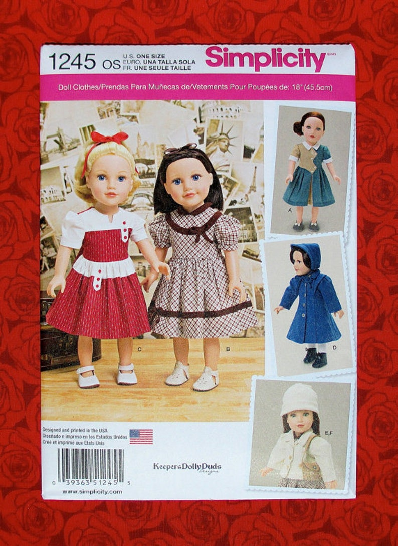 Simplicity 1245 Sewing Pattern For 18 Inch Doll Clothes Fits Etsy