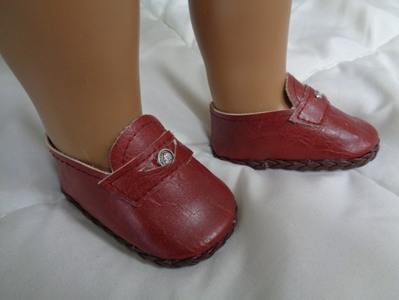 634e65734737a Burgundy Doll Loafers-Fits American Girl Boy Dolls- Vintage Doll Shoes for  18 inch Dolls-Shown on my American Girl doll