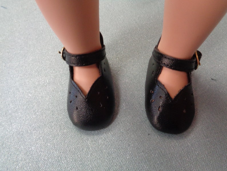ba13a96f0be83 Black Patent Leather Doll Shoes-Vintage Shoes- -Fits A Girl For All Time  Dolls