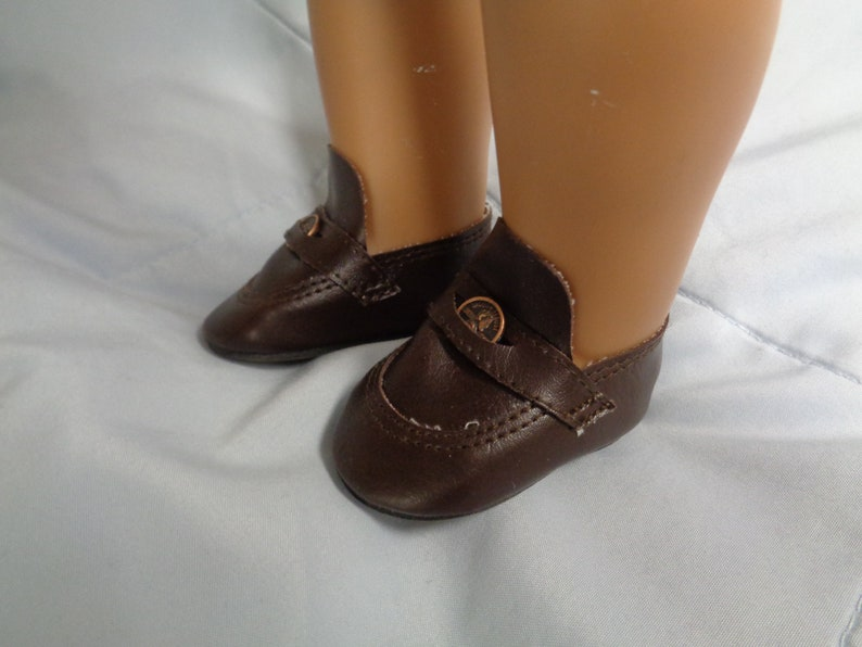 bdff40267d7e6 Brown Leather Doll -Penny Loafers-Fits American Girl Boy Dolls- Vintage  Doll Shoes for 18 inch Dolls-Shown on my American Girl doll