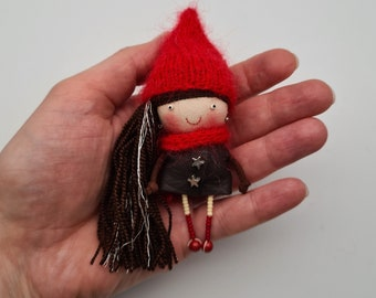 granddaughter Decoration on a coat A gift for a daughter jacket. mother Funny textile doll brooch Frida Kahlo with parrot in her hands