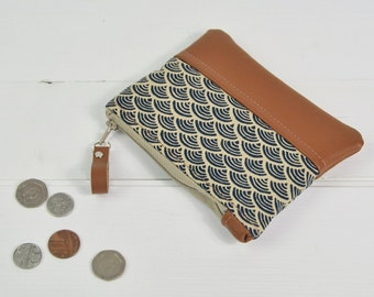Coin Purse Coin Pouch Purses for Women Change Purse Leather Purse Recycled Leather Gift for Her Womens Wallet Japanese Wave Blue Purse