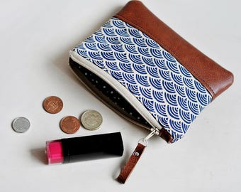 dc38dd6fd734a Blue Coin Purse Leather Purse Card Holder Leather Coin Pouch Change Purse  Gift for Her Womens Wallet Travel Pouch Zipper Pouch Japanese Navy