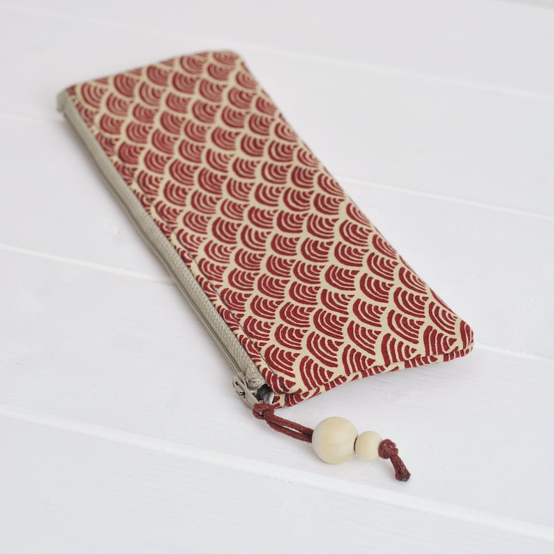 Pencil Case Stationery Pouch Small Pouch Brush Holder Small Pouch Pen Holder Back to School Gift for Her Sustainable Gift Red Japanese Wave
