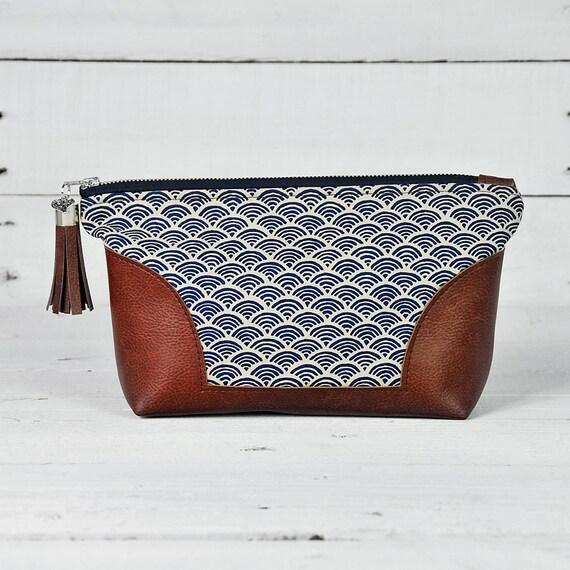 7b08a18bda7 Blue Wave Makeup Bag Leather Toiletry Bag Women Makeup   Etsy
