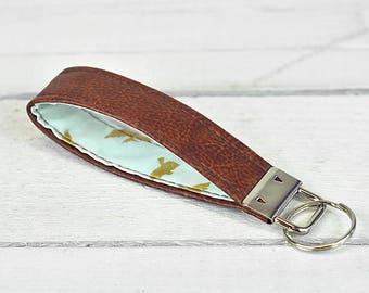 Keychain Keyfob Recycled Brown Leather Pastel Blue & Gold Bird Swallow Handmade Gifts Accessories