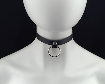 Black Patent Leather PVC 1 O Ring Choker Necklace Collar 34 Wide DSCK129PBLK