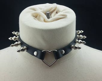 Choker Genuine Leather - Choker Collar Black Leather Choker with Silver Heart Ring and Christmas Tree Spikes