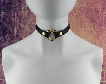 Heart choker genuine leather - choker collar black leather heart choker with gold heart ring with cute little ears